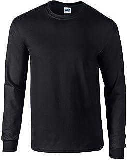 Gildan Mens Plain Crew Neck Ultra Cotton Long Sleeve T-Shirt