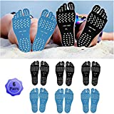 Beach Foot Pads Barefoot Adhesive Invisible Shoes Stick on Foot Pad Stickers Stick on Soles Anti-Slip Waterproof Silicone Unisex Footing Pad For Surfing Yoga Swimming 6 Pack Black Blue 9.5-12 Size