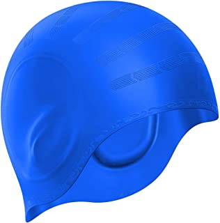 Swim Cap, Durable Silicone Swimming Cap Cover Ears, 3D...