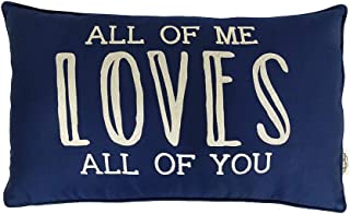 Vargottam Cotton Embroidered All of Me Loves All of You Lumbar Farmhouse Throw Pillow Cover Quote Cushion Covers 12x20 Inc...