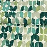 Stoffe Werning Dekostoff Ovales Retro Muster grün