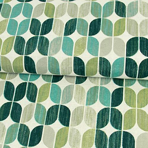 Stoffe Werning Dekostoff Ovales Retro Muster grün Canvastoff - Preis Gilt für 0,5 Meter