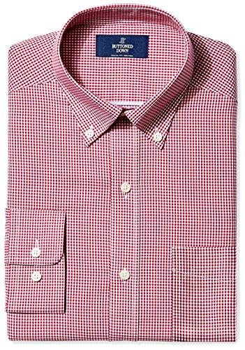 "BUTTONED DOWN Men's Classic Fit Button-Collar Non-Iron Dress Shirt, Burgundy Gingham, 17"" Neck 37"" Sleeve"