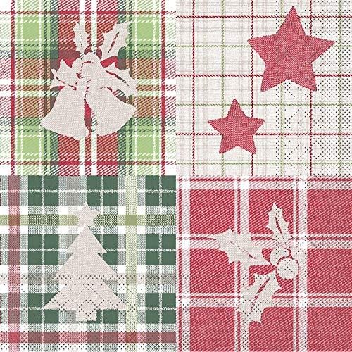Vlag HORECA servet Angelina | van tissue | landelijke stijl kerstfeest tafeldecoratie | 33 x 33 cm, 100 stuks