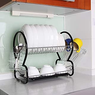 2-Tier Dish Rack and Drain Board, Brilliant Black Large Kitchen Plate Cup Dish Drying Rack Storage Tray Cutlery Dish Drainer Room Saving