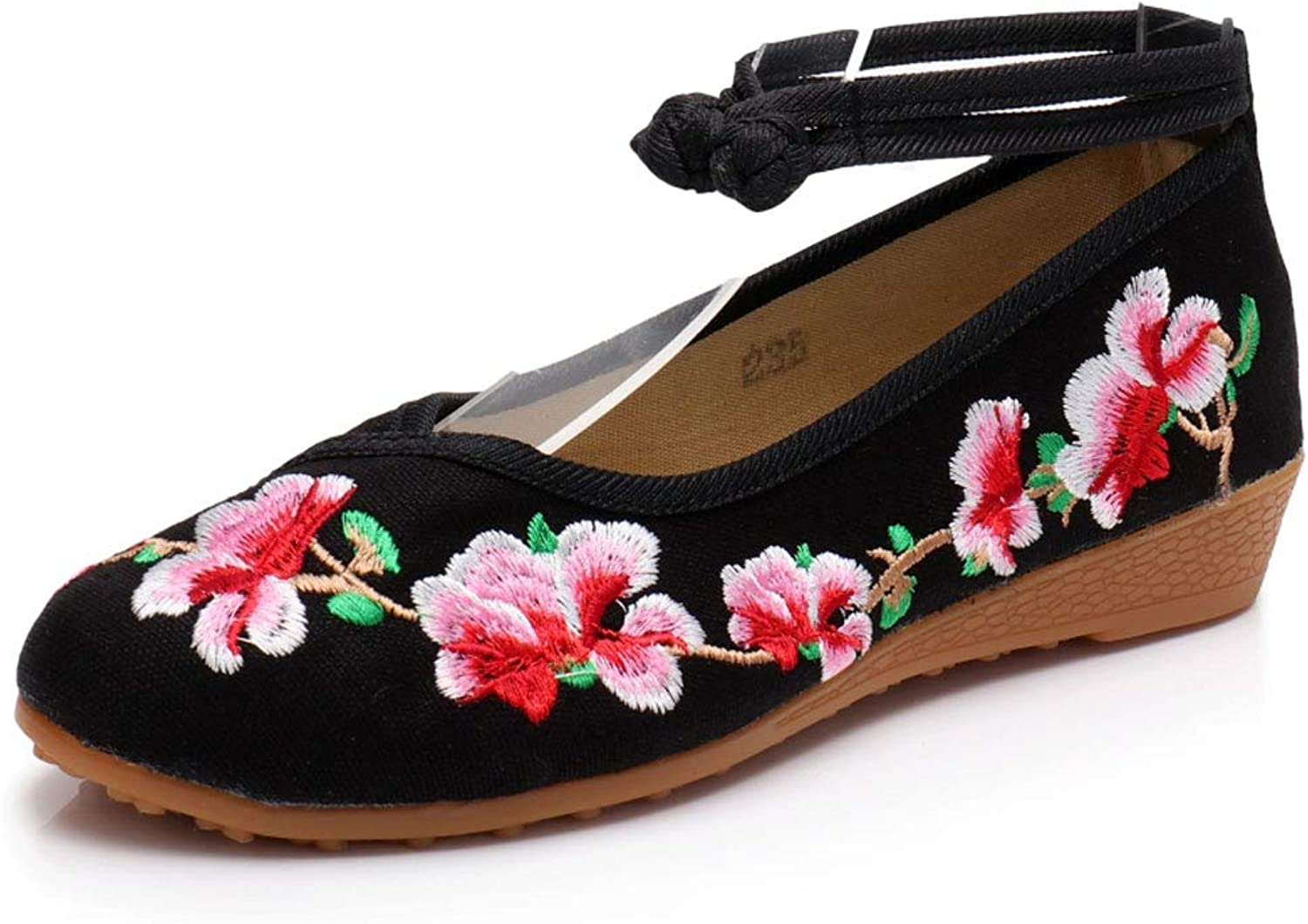 Fashion Flat Embroidery shoes Women's Vintage Embroidery Cloth shoes Wedge Casual shoes National Style (color   Black, Size   37)