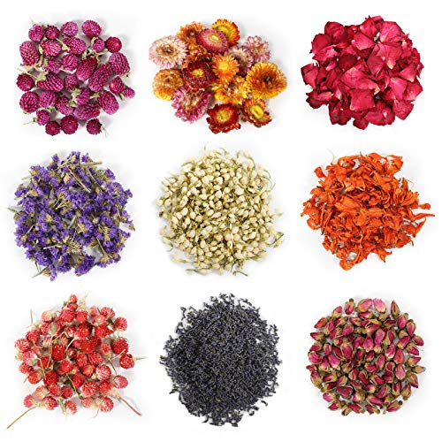 9 Bags Natural Dried Flowers Kit, Natural Dried Herbs with 2 Mesh Drawstring Bag for Soap,Candle,Resin Jewelry Making,Bath,Nail - Rose Petals,Rosebuds,Lilium,Jasmine,Don't Forget Me and More
