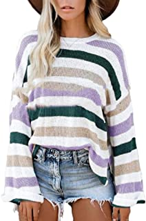Women's Striped Pullover Sweaters Casual Crew Neck Long Sleeve Knit Tops