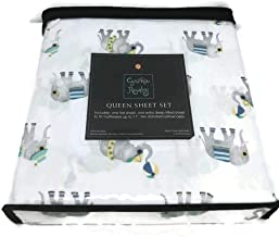Cynthia Rowley Queen Sheet Set Elephants on The Beach Grey White Microfiber 4 Pc