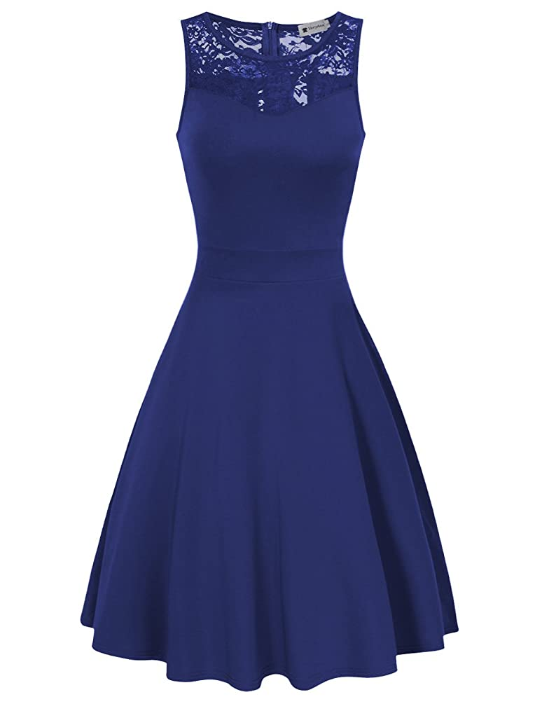 VeryAnn Women Sleeveless A Line Cocktail Party Dress Lace Fit and Flare Swing Dress