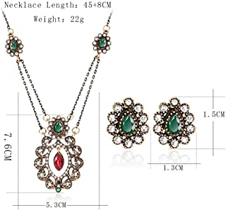 Jewelry Set Rhinestone Resin Earrings Necklace Set