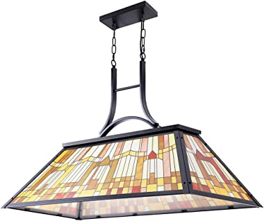 Wellmet Vintage 3-Light Pool Table Light Pendant with Tiffany-Style Printed Shade for Game Room 7 ft/8 ft/9 Feet Snooker Billiards Light Man Cave Club Kitchen Island Bar Game Dinning Room (Yellow)
