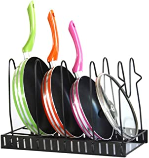 Pan Organizer Rack, Height Adjustable Pot and Pan Rack Organizer Cast Iron Skillets Pot Lid Holder Display Shelf for Kitchen, Counter, Cabinet, Pantry Storage and Organization