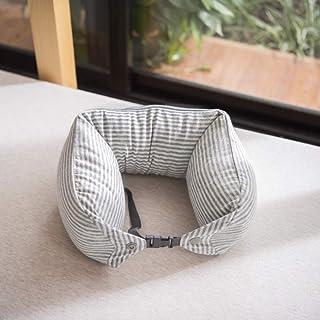 YXR Almohada en forma de U relleno de partículas de látex, almohada para el cuello, Rayas de color blanco roto., 10*10*10CM