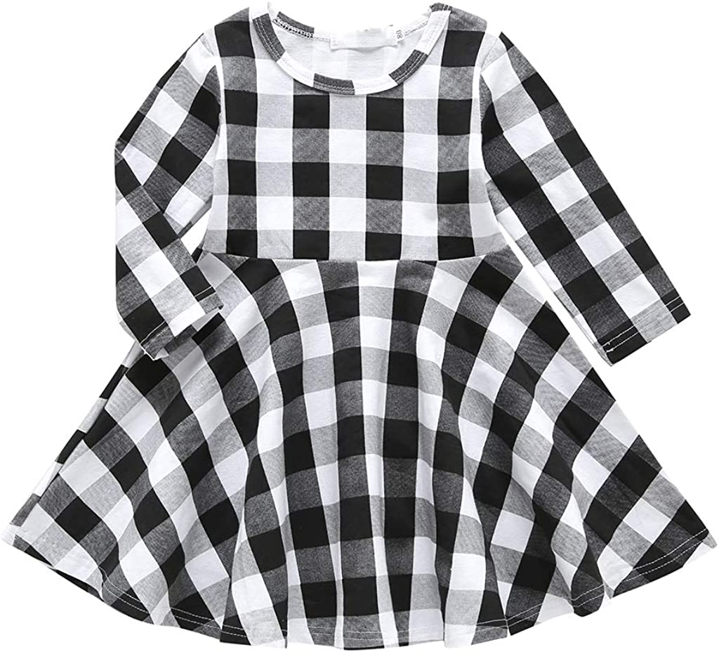 YOUNGER TREE Toddler Kids Baby Girls Long Pri Fashionable Plaid Max 57% OFF Sleeve Dress