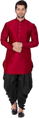 Men S Black Cotton Silk Blend Kurta And Dhoti Pant Set