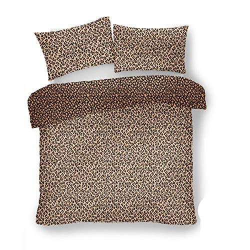 Lions Leopard Skin Duvet Cover Quilt Bedding Set Printed Polyester-Cotton With Pillowcase | Reversible | Easy Care | Natural | Double Bed Size | 200 x 200 cm
