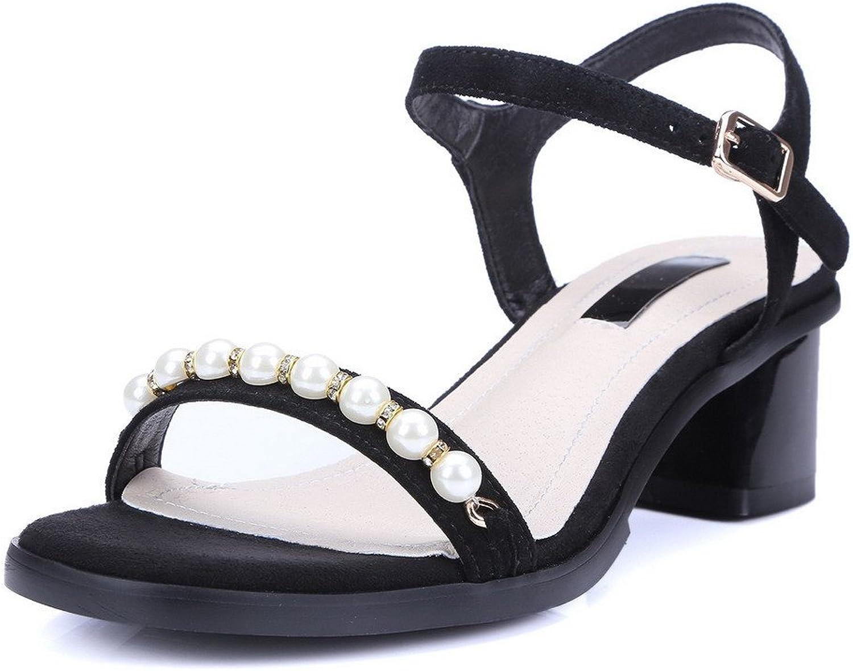 AmoonyFashion Women's Soft Material Open Toe Kitten-Heels Buckle Solid Sandals