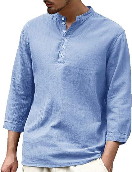 Camisa Hombre Blusa Suelta Casual Transpirable Top de Manga 3/4 Camisas Sin Cuello de Color Sólido Blusas de Trabajo SML XL 2XL