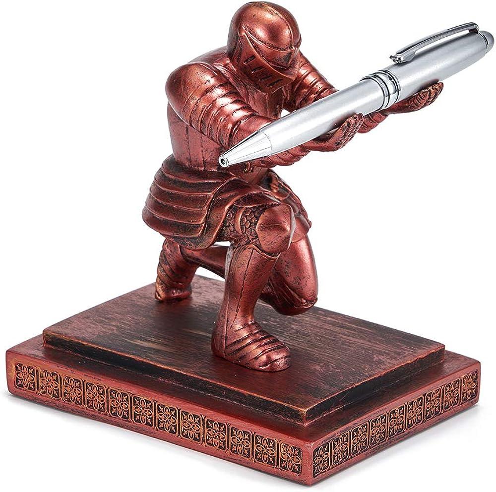Threeh, executive knight portapenne,il portapenne è in resina e la penna è in acciaio inossidabile H-TB02Red