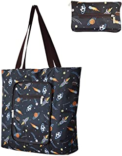 Reusable Shopping Bags Large Foldable Heavy Duty Grocery Bags With Zipper Attached Pouch Sturdy Daily Tote Bags Machine Wa...