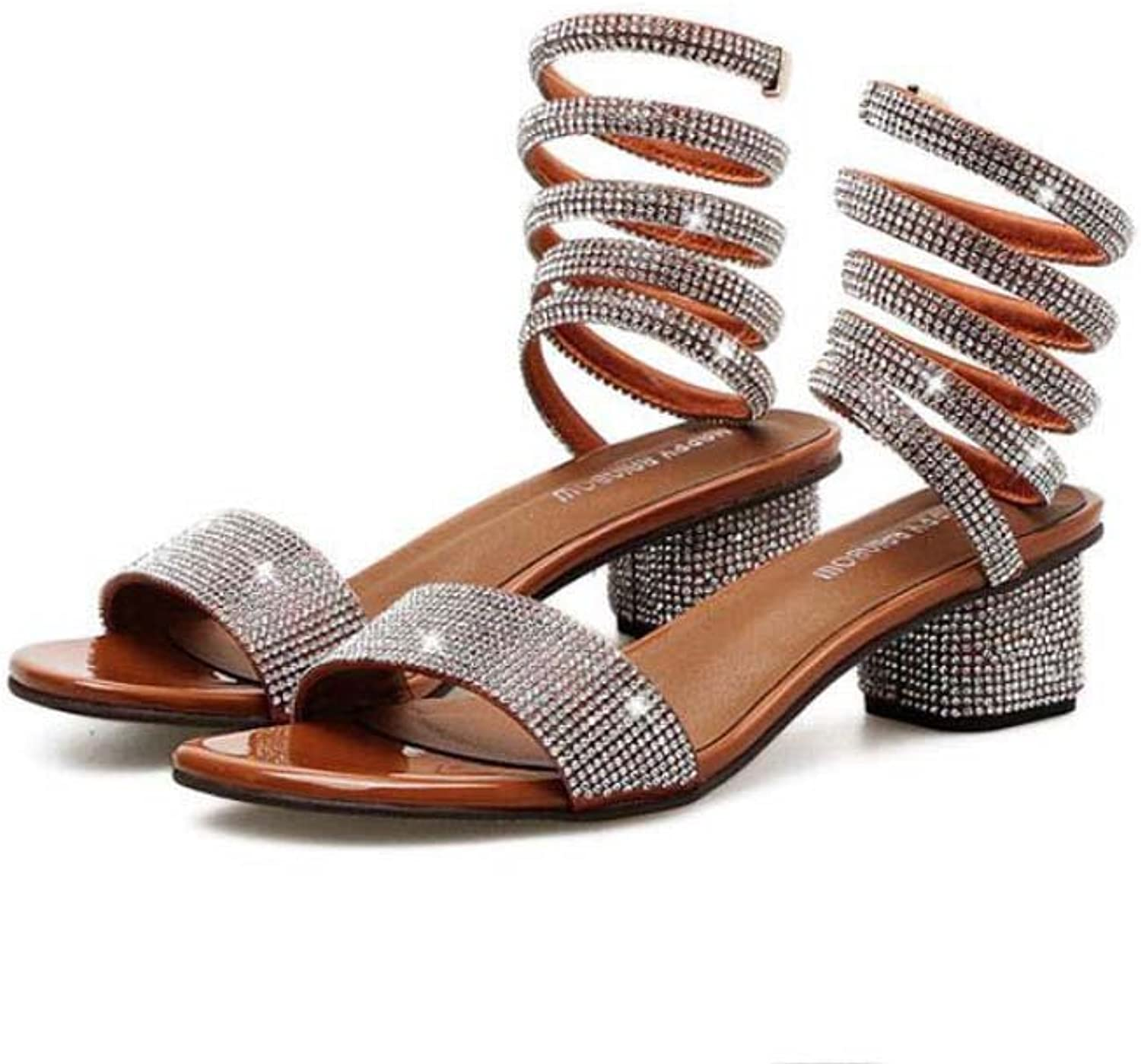 Pump 4.5cm Rhinestone Chunkly Heel Ankel Strap Sandals Serpentine Winding Spring Dress shoes Women Sweet Open Toe D'Orsay Bling OL Court shoes Roma shoes EU Size 34-40