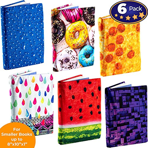 Book Sox Stretchable Book Cover: Standard Size 6 Print Value Pack. Fits Smaller/Thinner Hardcover Textbooks up to 8x10. Easy to Install, Adhesive-Free, Nylon Fabric Protector for School. Wash & Re-Use