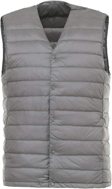 IGJMOD Men Down Vest Ultra Light Down Vest Portable V-Neck Coat Man Winter Warm Liner Gray XL