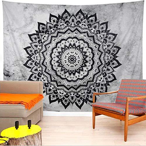 Leofanger Mandala Tapestry Black and White Mandala Tapestry Psychedelic Bohemian Tapestry Hippie Mandala Tapestry Wall Hanging for Bedroom Living Room(L 78.8×59.1 Inches)
