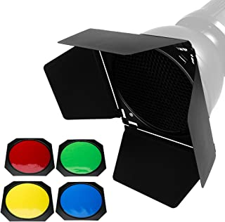 Godox BD-04 Barn Door and Honeycomb Grid and 4 Color Gel Filters (Red Yellow Blue Green) for Standard Reflector