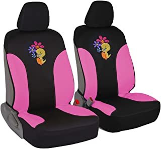 Tweety Bird Attitude Car Seat Covers - 100% Waterproof Front Pair Pink Fit Cover - Side Airbag Safe Protection for Car SUV Van Truck
