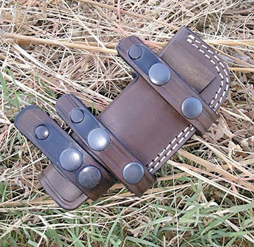 Ottoza Handmade Small Knife Sheath - Leather Knife Sheath Left Hand Bushcraft Knife Sheath - Hunting Knife Sheath - Survival Knife Sheath - Horizontal Carry Dark Brown TOP Grain Leather No:129