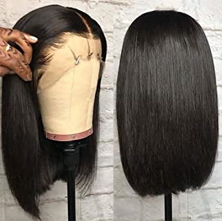 Andrai Hair Short Bob Straight Lace Front Wigs Glueless Lace Wig Synthetic Heat Resistant Fiber Natural Straight Black Hai...