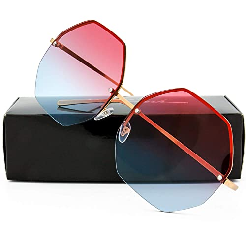 d10038b182b3b The Fresh Fashion Designer Huge Hexagon Metal frame Ocean Colored Lens  Sunglasses Gift Box
