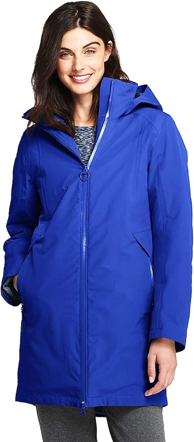 Lands' End Women's 3 in 1 Long Squall Coat, XS, Electric bluee