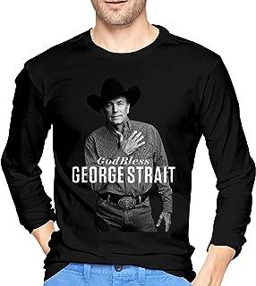 George Strait Tシャツ 長袖 メンズ 服 インナー カジュアル 丸首トップス おしゃれ カットソー スポーツ 丸襟 プリント 柔らかい