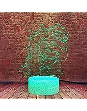 GMYXSW Lampe d'illusion 3D 3D Lampe de nuit Super Mario 16 Couleurs dimbar USB-driven touch-kontroll avec cadeaux créatifs à distans hällar 10 ans