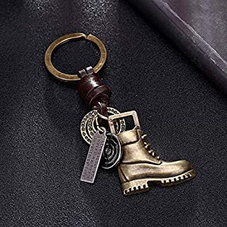 Key Chains - Brass Shoe Pendant for Car Keys Leather Keychain Chain Ring Cover Holder Finder