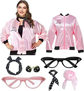 1950s Womens Plus Size Pink Jacket with Polka Dot Scarf Earring Set