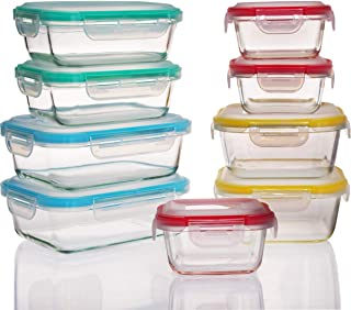 18 Pieces Glass Food Storage Containers Set-Glass Meal Prep Containers Lunch Food Boxs with Airtight Lids for Adults & Kids-Use for Kitchen,Restaurant,Picnic,Working or School-BPA-Free (Color)