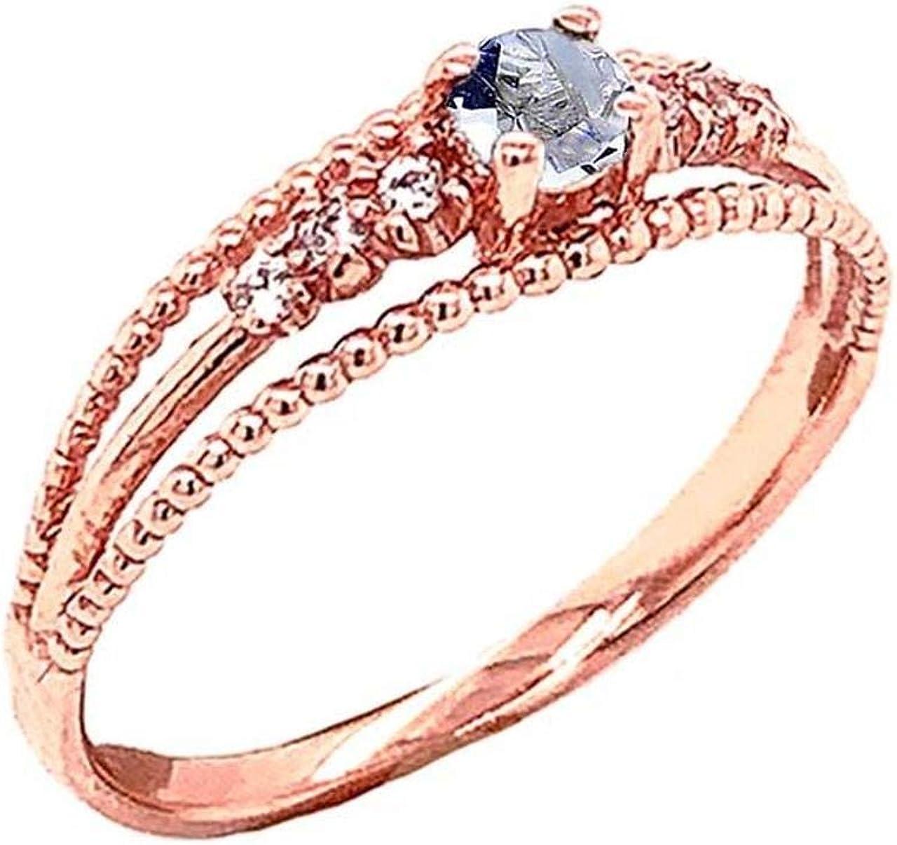 Certified 10k Gold Genuine Aquamarine and Diamond Modern Engagem SALENEW大人気 ◆高品質
