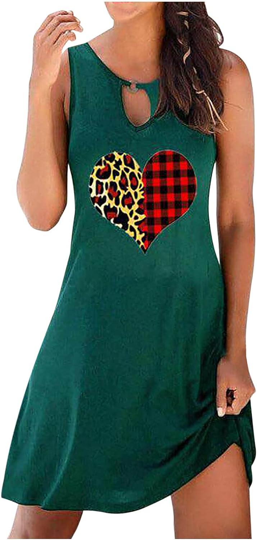 Aritone Fashion Women's Casual Sleeveless O-Neck Ladies Hollow Out Slim Mini Dress