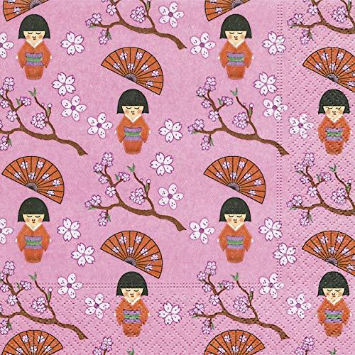 20 Servietten Kleine Geishas/Japan/Asien/Muster 33x33cm