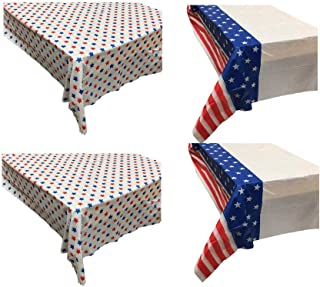THE UM24 4 Pack - Patriotic Stars & Stripes Flag Style Party Table Cover 54IN X 108IN Tablecloth