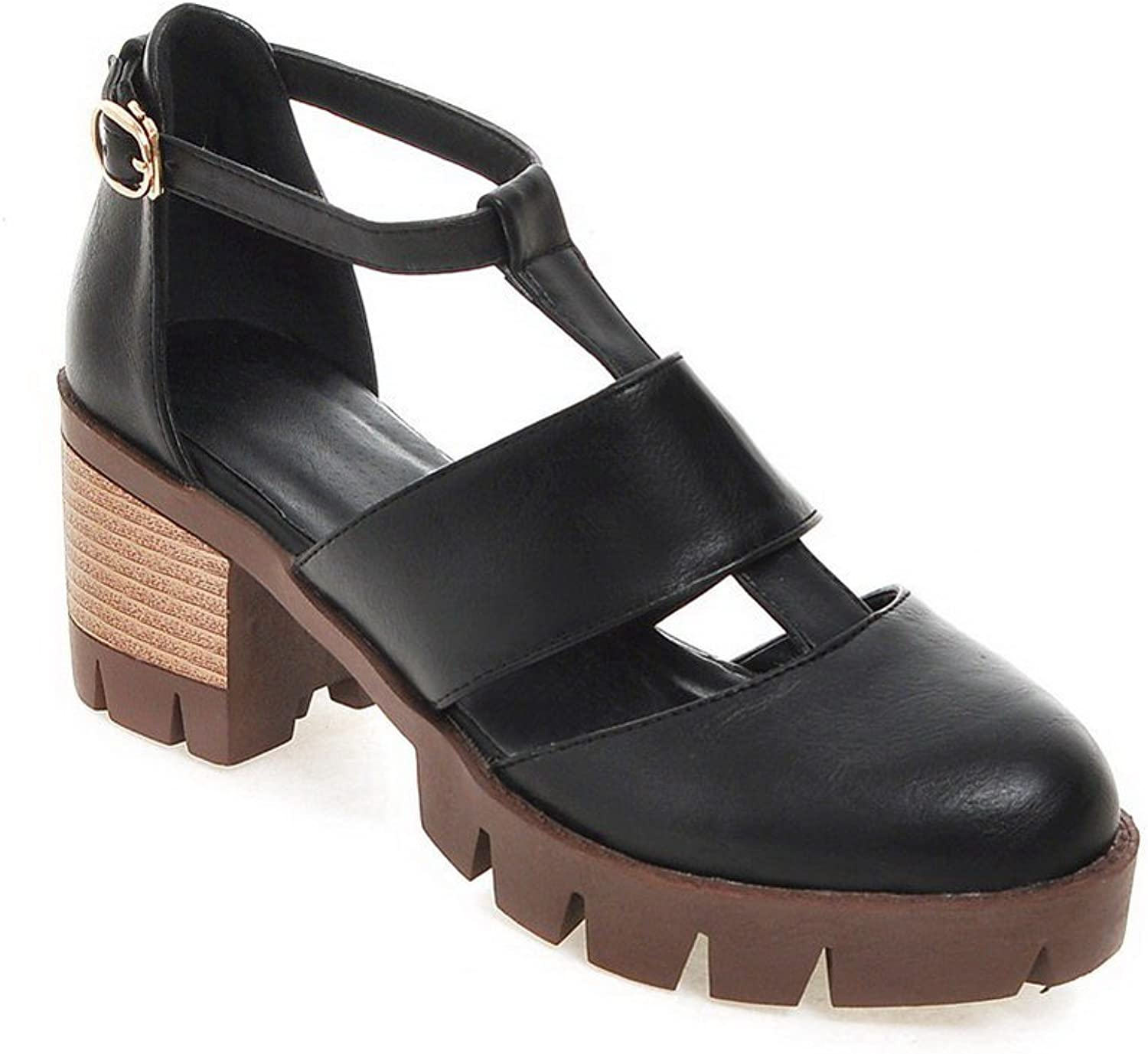 AN Womens Non-Marking Kitten-Heels Solid Urethane Sandals DIU00802