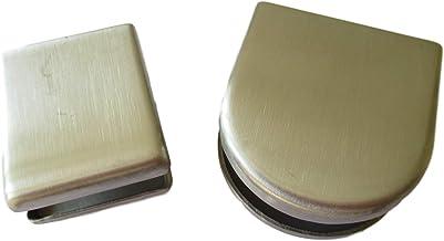Glashouder roestvrij staal – klemhouder voor beglazing, douches, leuningen recht of ronde vorm/wandhouder 6 mm of 8 mm gla...