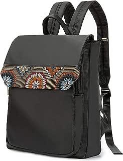 Silkarea Boho Embroidered Slim Laptop Backpack for Women 13 inch Travel Casual Daypacks College Backpack Laptop Computer Bag Mochilas (Black)