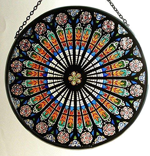 Decorative Hand Painted Stained Glass Window Sun Catcher/Roundel in a Strasbourg 'Rosace' Design