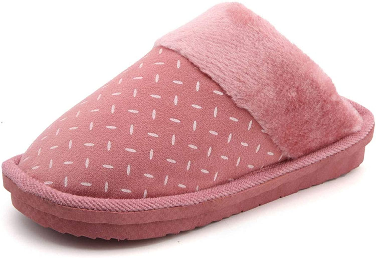 Couple Home Cotton Slippers Winter Indoor Non-Slip Warm shoes Cute Plush Thicken Flat Round Head Men Women shoes,Pink,39