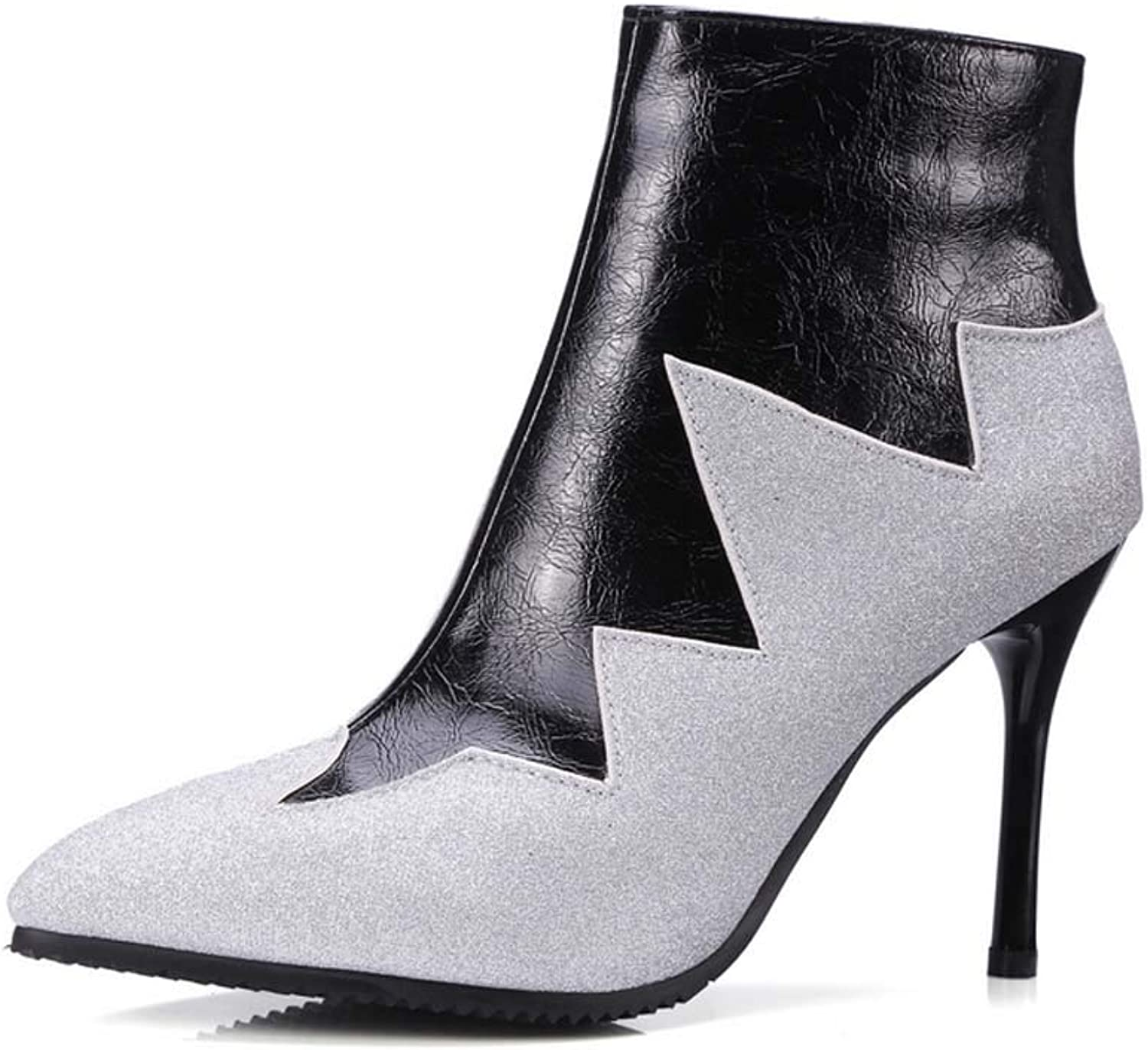 Women Pointed Ankle Boots 2018 Autumn Personality Mixed color Super High Heel Martin Boots